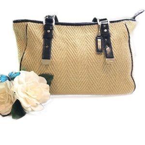 Cole Haan Neutral Weave Material Carryall Handbag